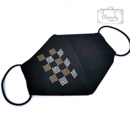 BLACK COTTON PROTECTIVE MASK WITH SILVER-GOLD TRIMMING